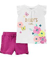 Детский летний комплект - футболка и шорты Картерс для девочки