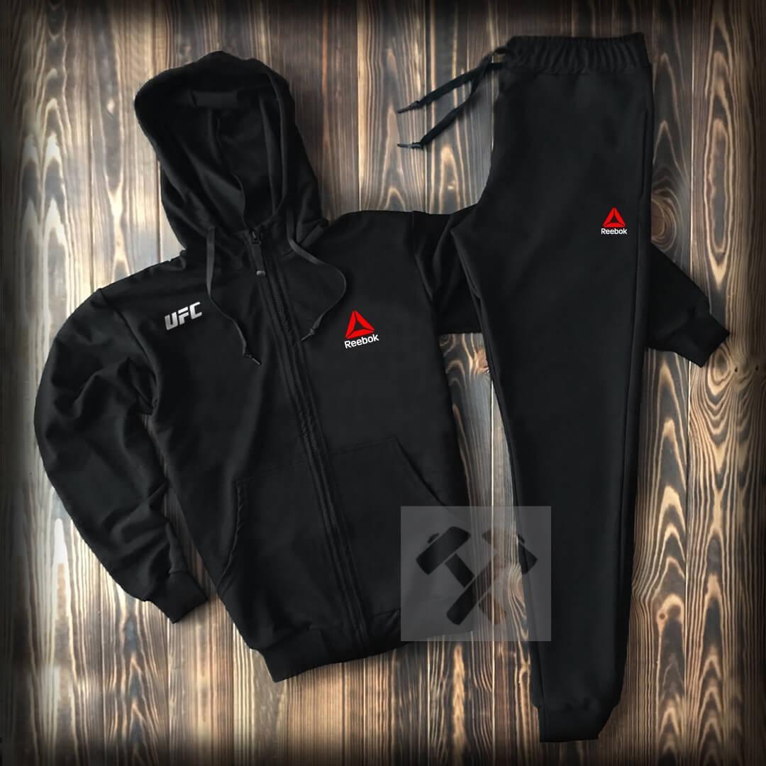 Спортивный костюм Reebok на молнии с капюшоном черного цвета