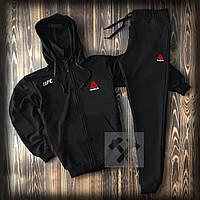 Спортивный костюм Reebok на молнии с капюшоном черного цвета (мужской спортивный костюм Рибок 90% хлопок)
