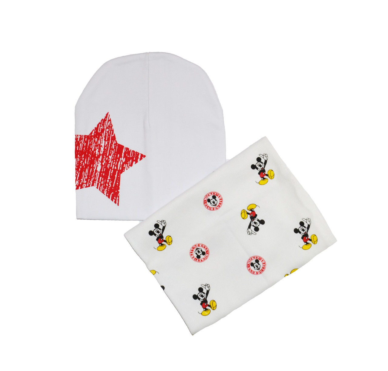 Комплект шапка и шарф-хомут белые с рисунком Микки Маус