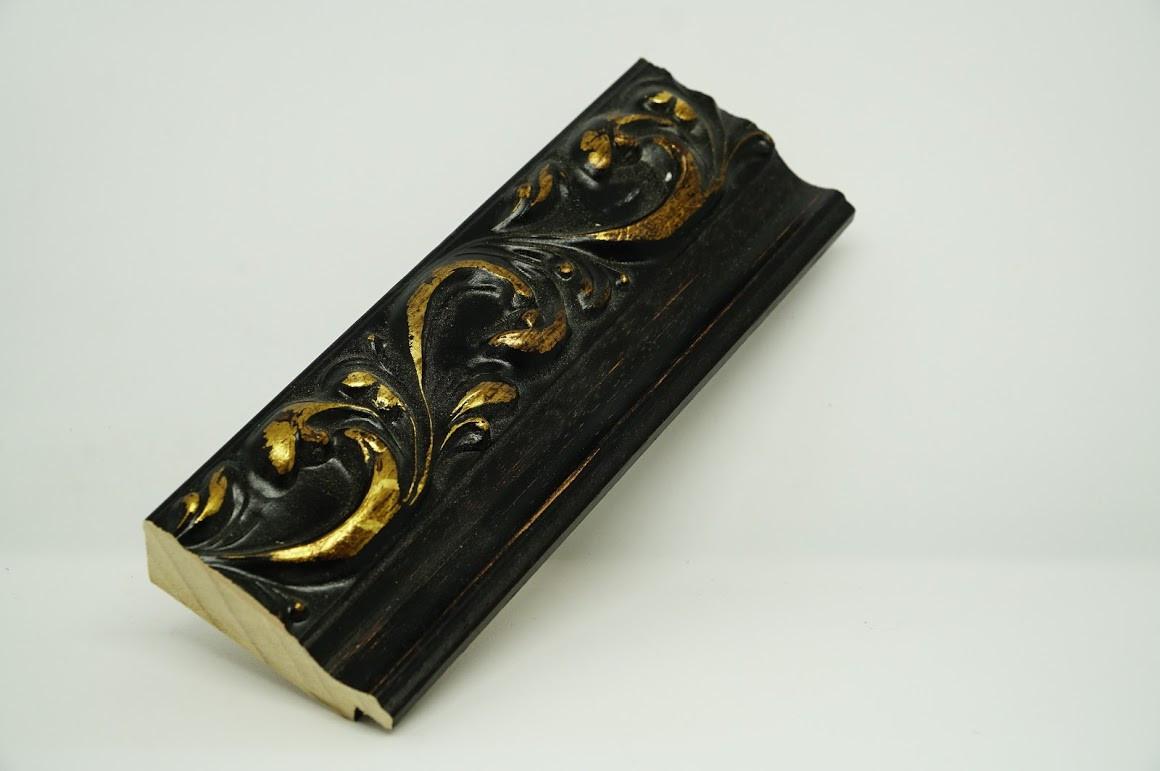 Багет дерев'яний коричневий з золотом