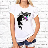 Женская футболка с принтом Тигрица абстракция S, Белый Push IT