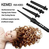 Стайлер Kemei KM-4083 4 в 1 Плойка зі змінними насадками для завивки волосся спіральна плойка, фото 3