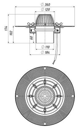 Кровельная воронка с системой обогрева, 110/100 мм, фото 2