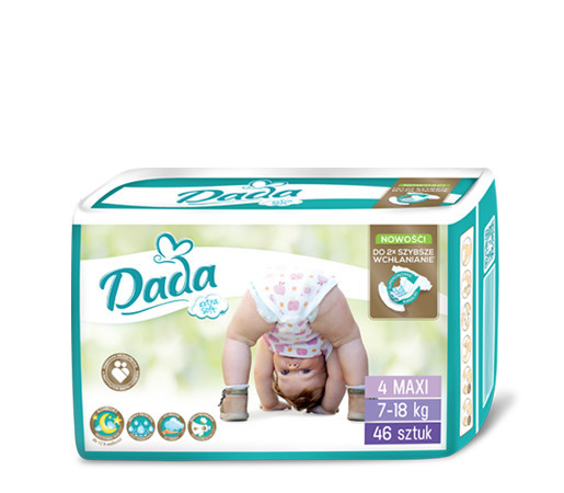 Підгузники Dada ( Дада ) Extra Soft Maxi 4 (7-18 кг) - 46 шт.