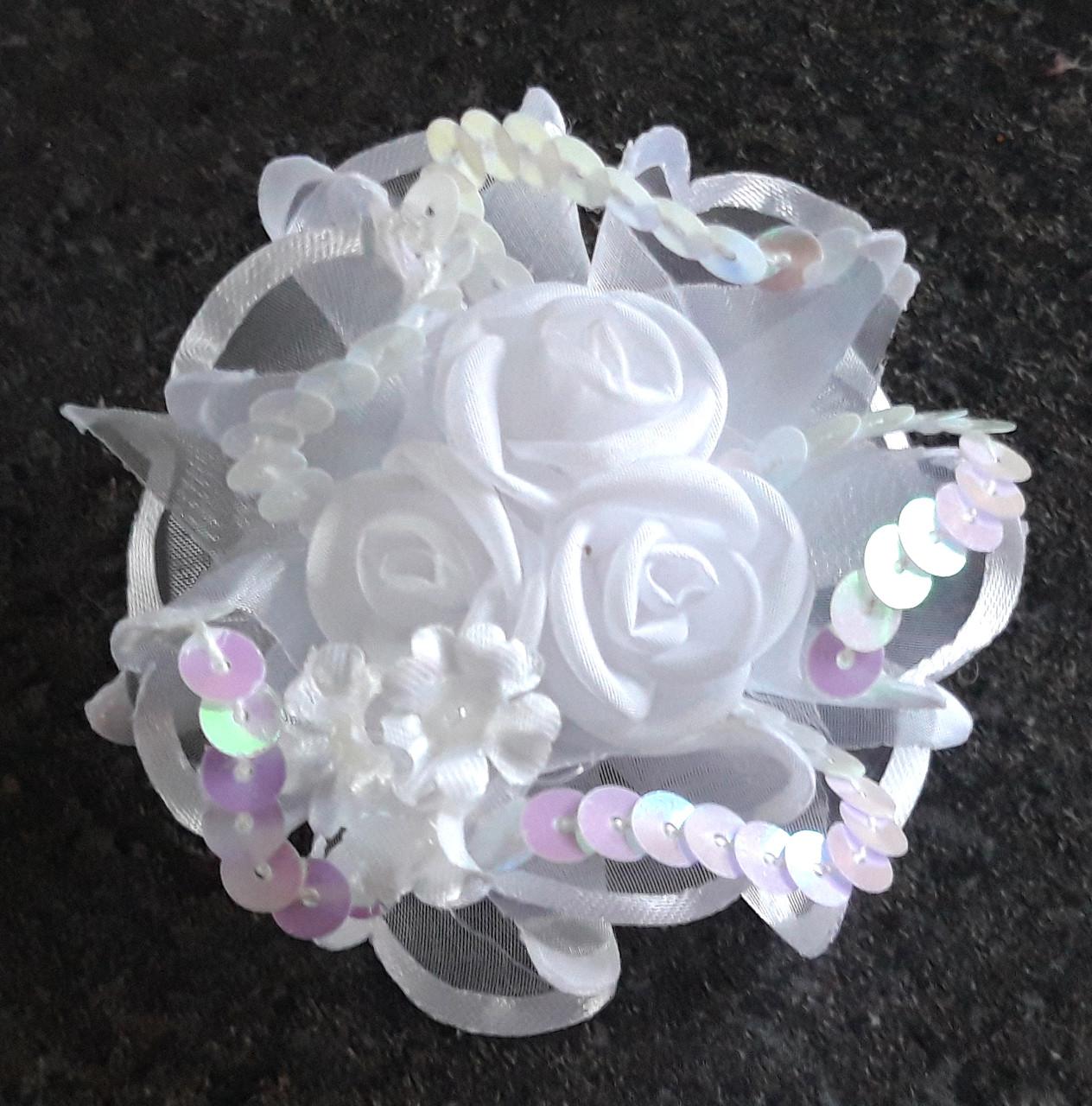 Бант на резинке красивая роза, диаметр 7,5 см