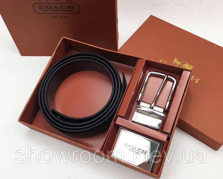 Мужской кожаный ремень с съемными пряжками Coach (902) подарочный набор