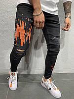 Мужские джинсы зауженные 4720 black/orange