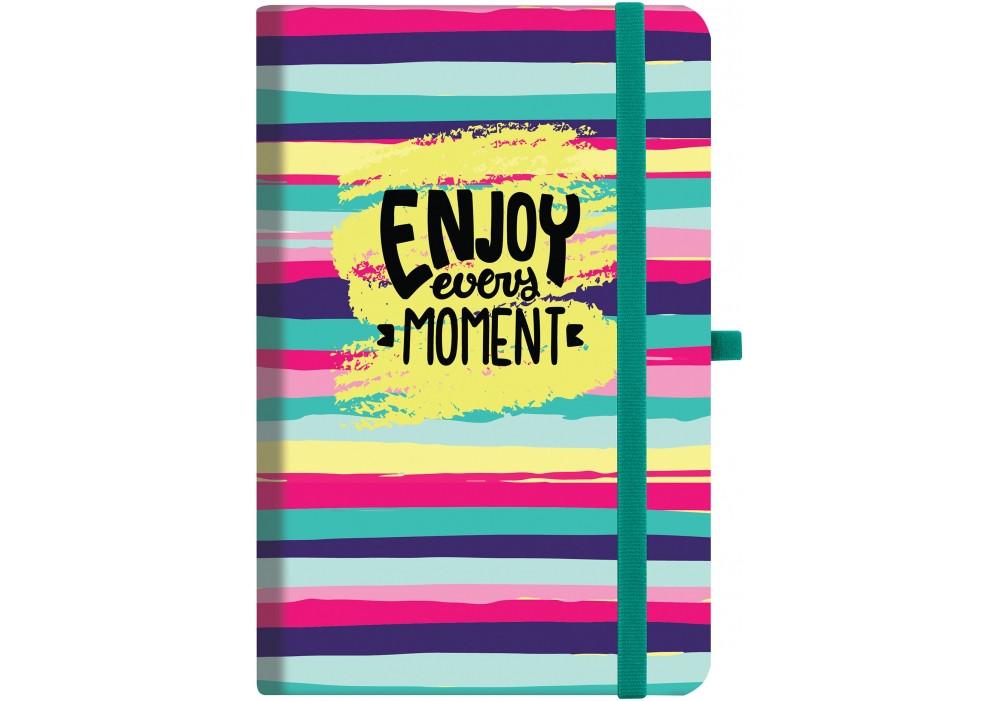 """Деловая записная книжка Optima """"enjoy"""" с резинкой 136х207мм, полноцветная обложка, блок прошитый"""