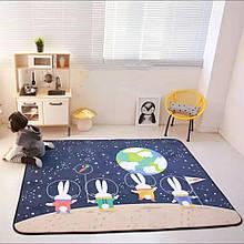 """Безкоштовна доставка! Килим в дитячу """"Космічні зайчики"""" утеплений килимок мат (1.5*2 м)"""