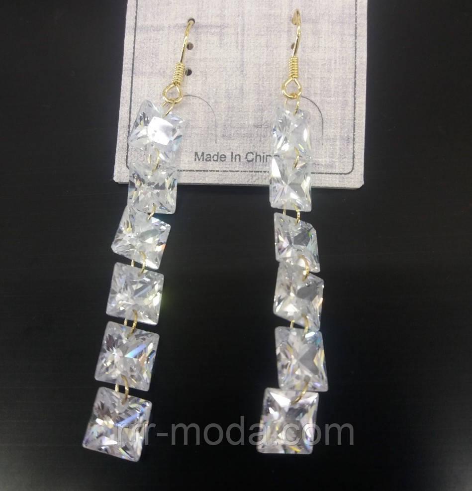 2331 Элитные серьги из кристаллов, ювелирная бижутерия оптом