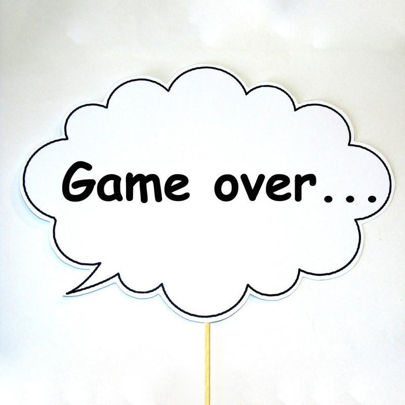 """Табличка Мовленнєвий хмара 30х20 см """"Game over"""""""
