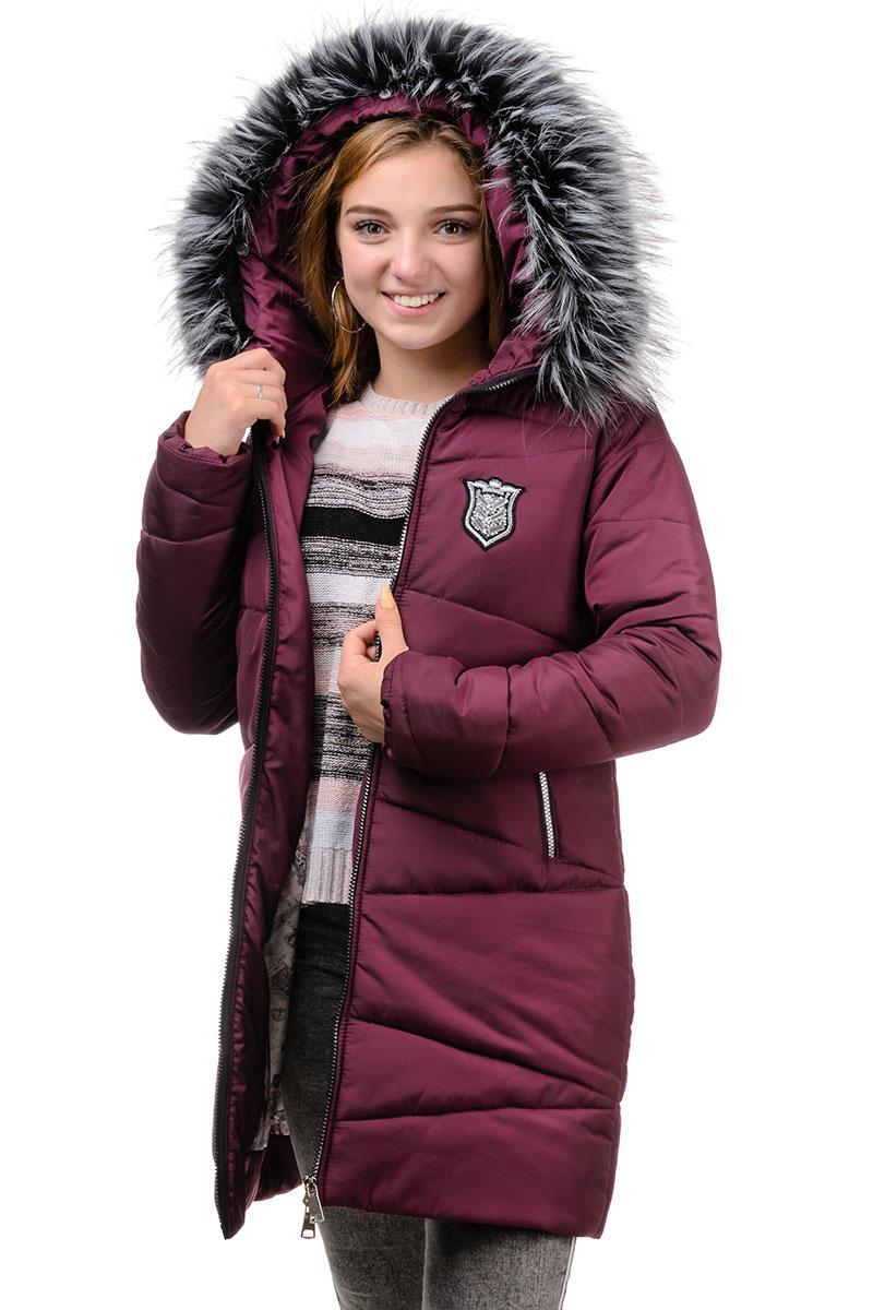 Подростковое зимнее пальто бордо