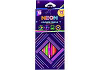 """Карандаши цветные Cool For School """"Neon"""", 12 цветов, трехгранные"""