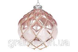 Ёлочные шары 10см, цвет: розовый 6 штук