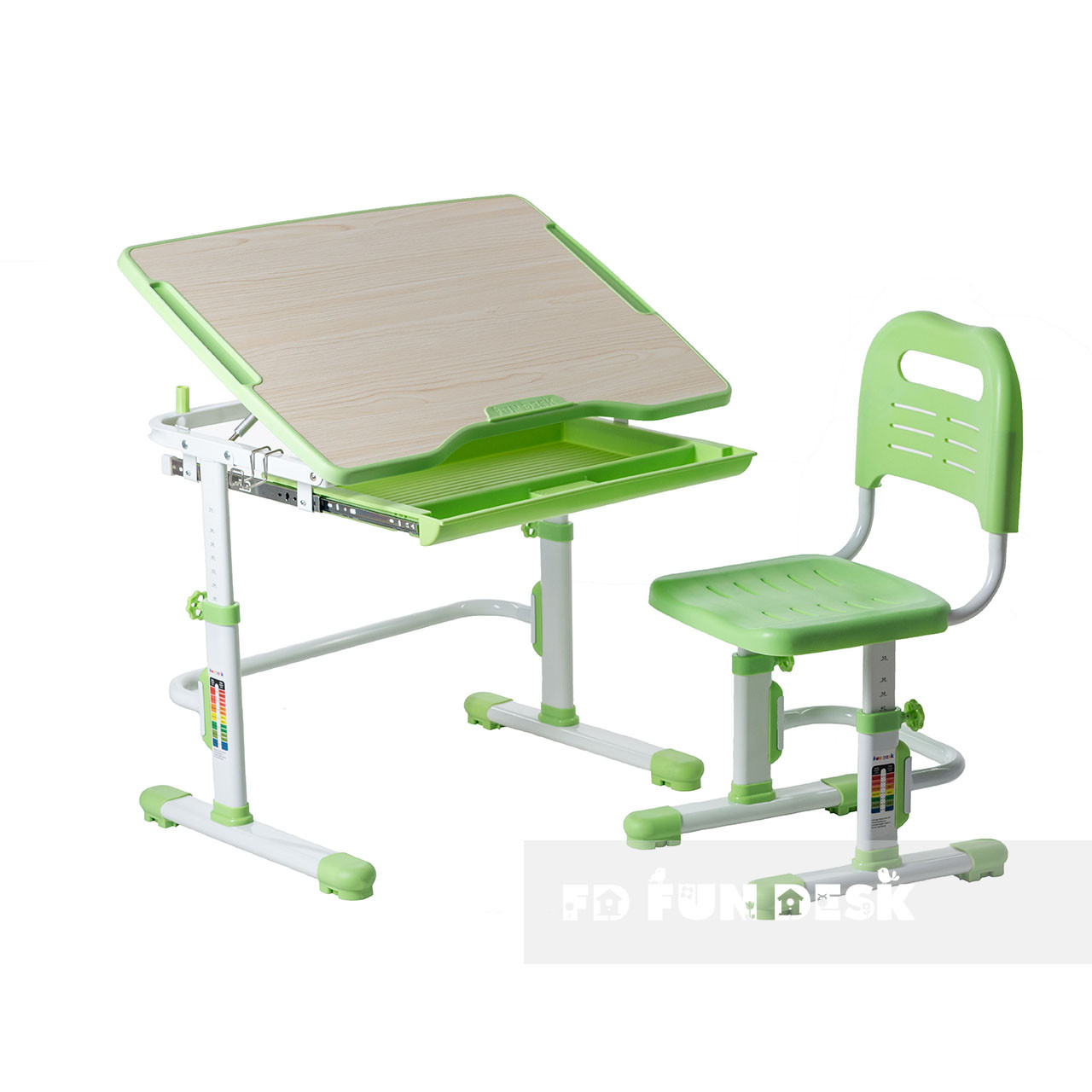 Комплект парта + стул трансформеры Vivo Green FUNDESK