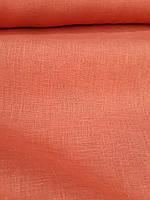 Льняная костюмная ткань кирпичного цвета