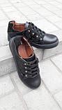 Кеди жіночі повсякденні шкіра чорні шнурівка від виробника KARMEN, фото 2