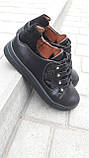 Кеди жіночі повсякденні шкіра чорні шнурівка від виробника KARMEN, фото 3