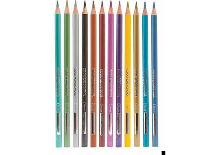 """Карандаши цветные Cool For School """"Metallic"""", 12 цветов, трехгранные, фото 2"""