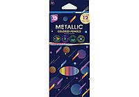 """Карандаши цветные Cool For School """"Metallic"""", 12 цветов, трехгранные"""