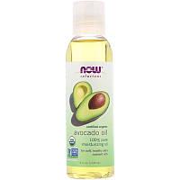 """Органическое масло авокадо NOW Foods, Solutions """"Organic Avocado Oil"""" для кожи и волос (118 мл)"""