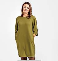 Женское элегантное мини-платье прямого силуэта большого размера \ короткое платье батал, фото 1