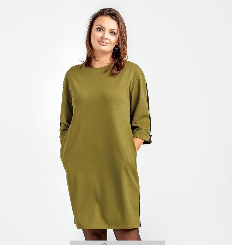 Женское элегантное мини-платье прямого силуэта большого размера \ короткое платье батал