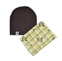 Комплект шапка и шарф снуд в клетку