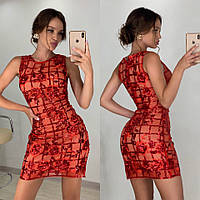 Женское красное платье с вышивкой из пайетки