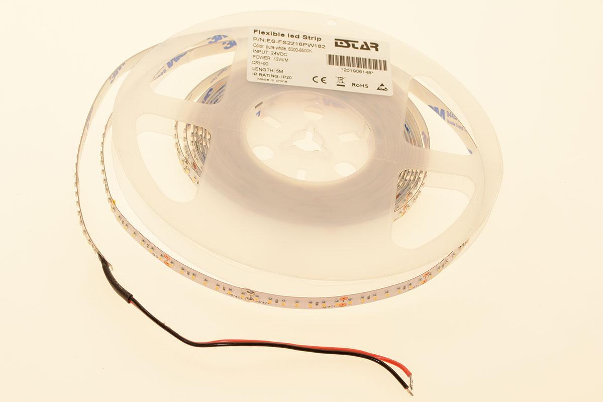 LED лента Estar SMD 2216 182шт/м, 12W/м, IP20, 24V (6000-6500К)
