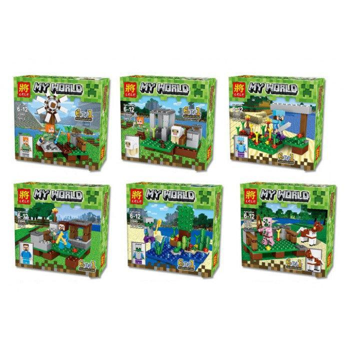"Конструктор Lele 33040 ""My World"" (Аналог LEGO Minecraft,390 деталей, комплект из 6)"