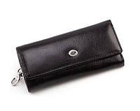 Кожаная мужская ключница-кошелек (16) black, фото 1