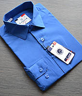 Детская синяя (васильковая) приталенная рубашка LAGARD (размеры 6.8,14.18)