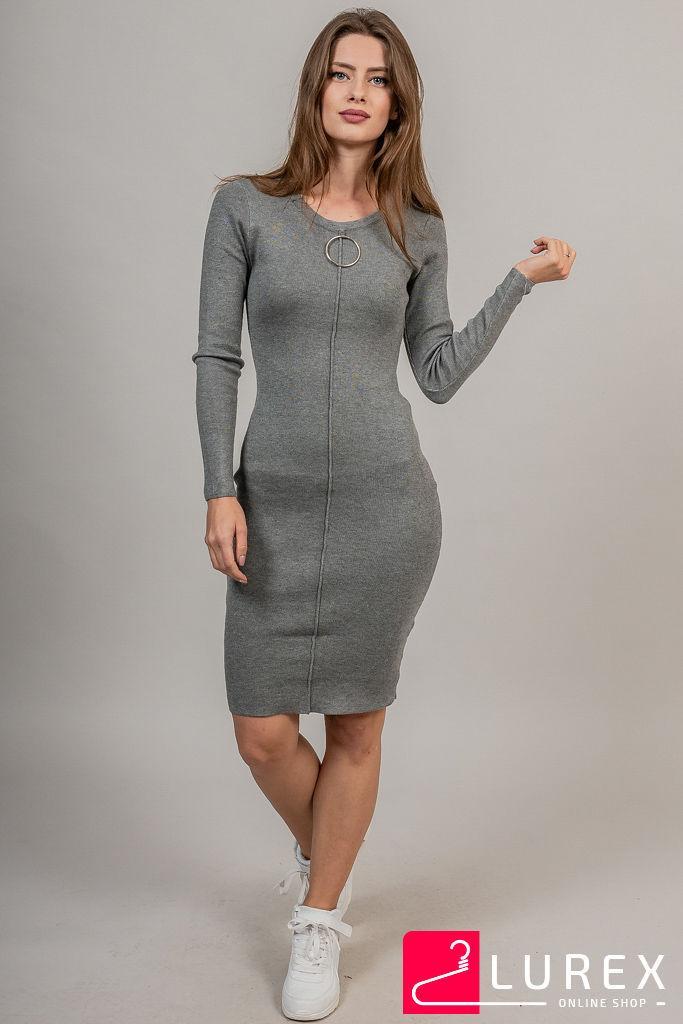 Облегающее платье с кольцом на декольте LUREX - серый цвет, XS (есть размеры)