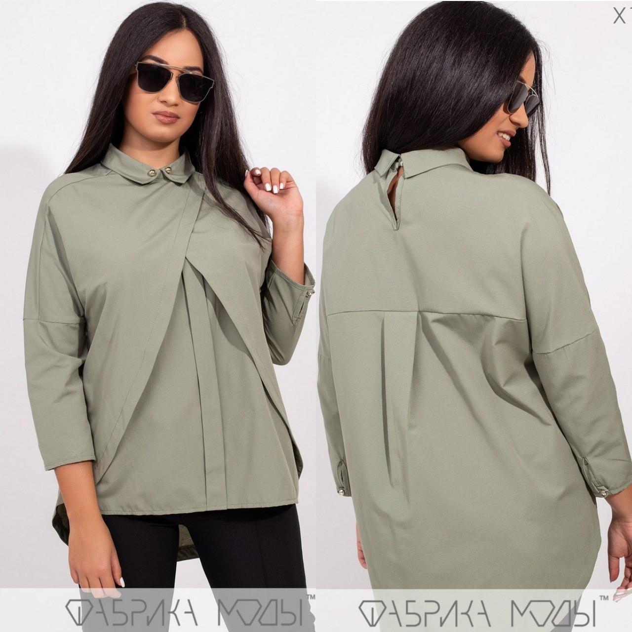 Однотонная блуза батал, хаки