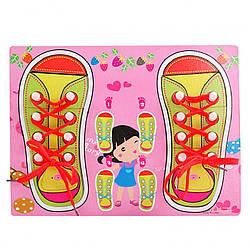 Деревянная игрушка Шнуровка, розовая (M00956(Pink))