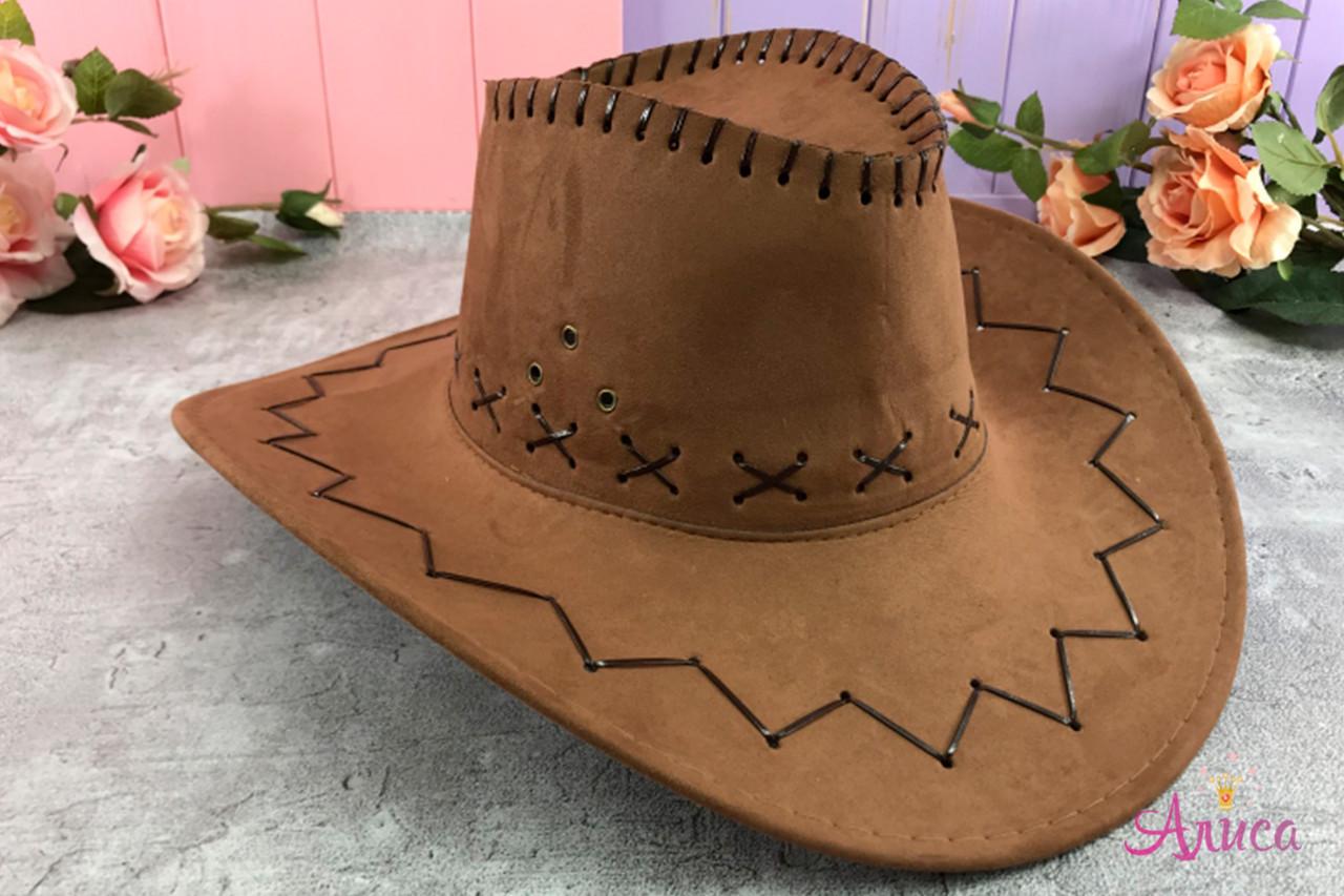 Шляпа Ковбоя на взрослого коричневая