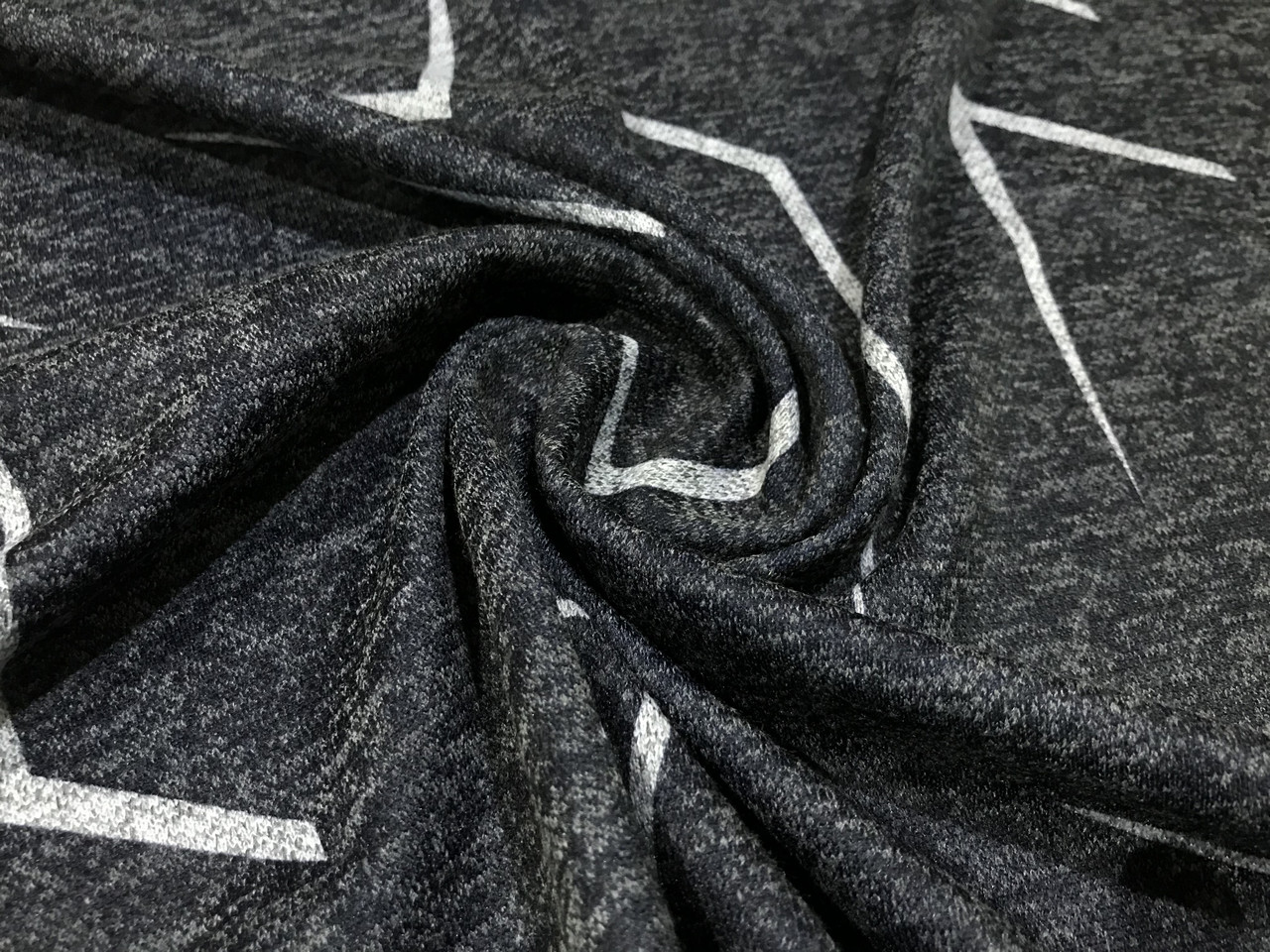 Трикотаж ангора софт рисунок зигзаг, темно-серый
