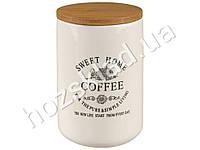 "Банка для кофе Stenson ""Глазурь"" с бамбуковой крышкой 700мл 10х10х14,5см"