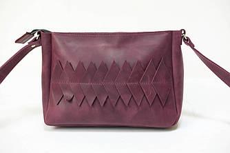 Сумка женская. Кожаная сумочка Надежда с узором Винтажная кожа цвет Бордо