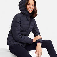 Женская темно-синяя легкая куртка на пуху с капюшономUniqlo, фото 1