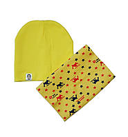 Комплект шапка и шарф хомут желтый с верталётиками
