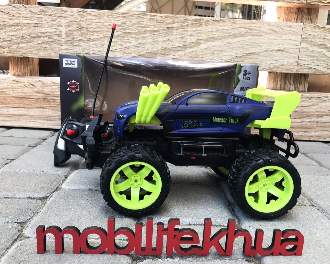 Большая Машинка Monster Truck(МОНСТР ТРАК) С Неоном Синяя/На Аккумуляторах/