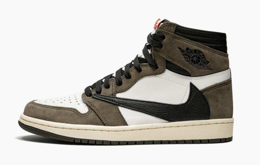 "Кроссовки Nike Air Jordan 1 Retro High x Travis Scott ""Хаки\Белые"""