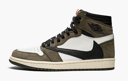 "Кроссовки Nike Air Jordan 1 Retro High x Travis Scott ""Хаки\Белые"", фото 2"