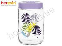 "Банка стеклянная Herevin ""Fiolet Leaf"" с пластиковой крышкой 600мл 63242"