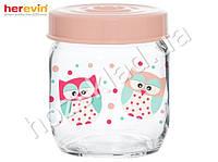 "Банка стеклянная Herevin ""Owl"" с пластиковой крышкой 425мл 51133"