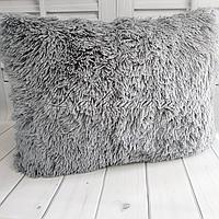 Чехол для подушки травка  50х70 см.   Декоративные пушистые наволочки для интерьера, цвет серый