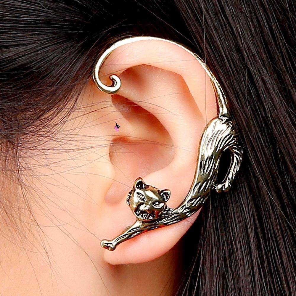 Сексуальный кафф-серьга в виде потягивающейся кошки пусеты в ушко ухо сережки металл earrings качест